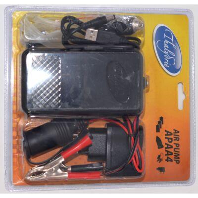 Levegőztető pumpa szett (elem,USB,szivargyújtó)