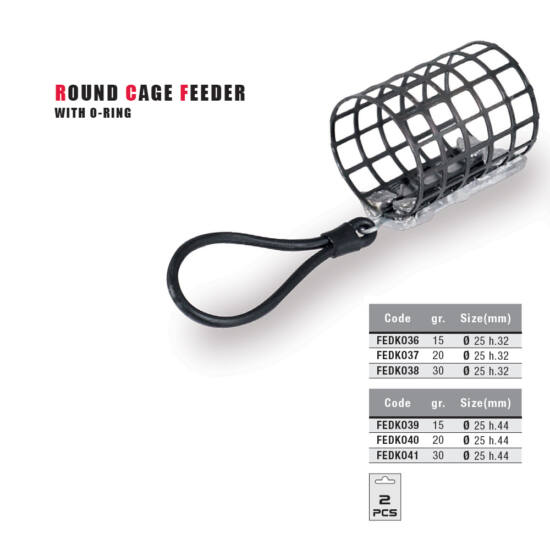 Round Cage Feeder with O-ring (25x44)-15 gr